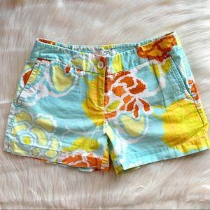 Loft Ann Taylor linen blend floral shorts, size 0